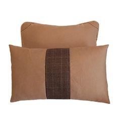 Conjunto de 2 Almofadas Lã Kaki com detalhes em couro