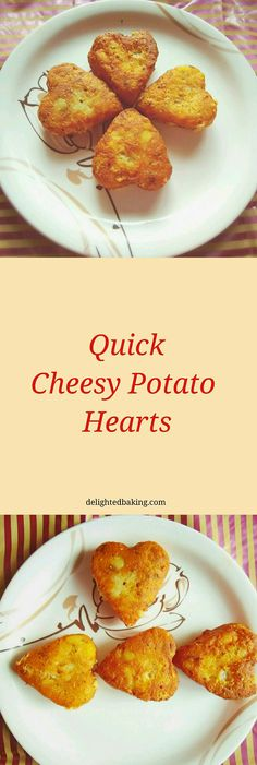 Quick Cheesy Potato Hearts : An easy to make snack. Potato cheese balls, cheese loaded mashed potato, quick cheese potato balls.