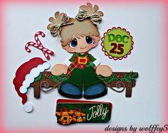 ELITE4U GIRL XMAS paper piecing premade scrapbook page album die cut WOLFFEY5 #WOLFFEY5