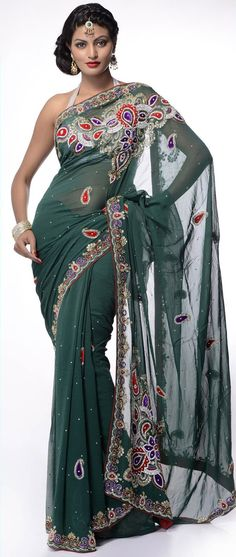 Teal #Green Viscose Georgette #Saree With Blouse @ $229.58