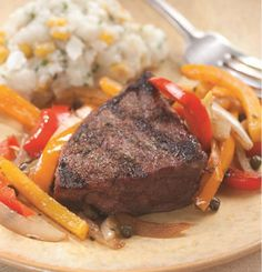 Grilled Steak with Pepper Relish with Oven Fries and sauteed Swiss Chard with Chile and Garlic for Two