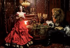 BEAUTY AND THE BEAST - Drew Barrymore in a Christian Lacroix Haute Couture dress with gold lace petticoat. - Photographed by Annie Leibovitz - Fashion Editor: Grace Coddington - Vogue, April 2005 Mario Testino, Drew Barrymore, Terry Richardson, Annie Leibovitz Photography, Grace Coddington, Classic Fairy Tales, Inspiration Art, Fashion Inspiration, Fairytale Fashion