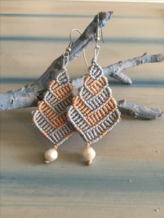 Macrame earrings in silver and gold colours