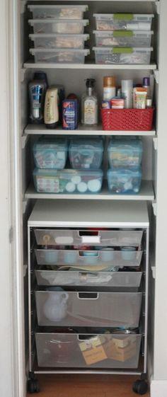 Linen Closet Organization -container store roll cart