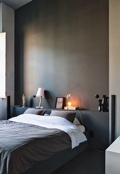 Awesome Deco Chambre Lit Noir that you must know, You?re in good company if you?re looking for Deco Chambre Lit Noir Home Bedroom, Master Bedroom, Bedroom Decor, Bedroom Ideas, Modern Bedroom, Master Suite, Gray Bedroom, Bedroom Lamps, Wall Lamps