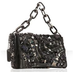 Marc Jacobs black studded leather 'Wrath' chain flap bag