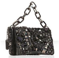 Marc Jacobs black studded leather 'Wrath' chain flap bag