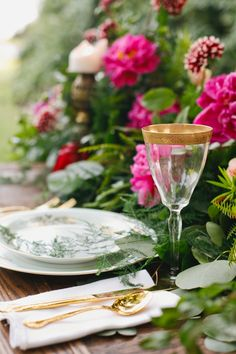 beautiful tablescape rustic + gold+bright florals