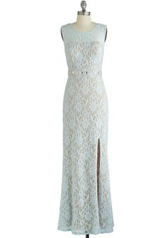 Praiseworthy Glamour Dress in Ice - Blue, Solid, Lace, Rhinestones, Prom, Maxi, Sleeveless, Variation, Special Occasion, Sheer, Knit, Lace