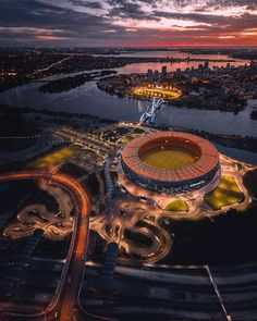 """Destinations.Eye.Go on Instagram: """"We are all connected.  Somehow.  Somewhere..... At sometime. . . . #big_shotz #dronestagram #drones #droneshots #igtones #igdrones…"""" Soccer Stadium, Football Stadiums, Sorrento Beach, Perth Western Australia, We Are All Connected, Great Places, Airplane View, Countryside, The Good Place"""