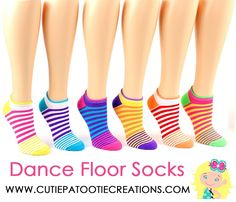 Dance Floor Party Socks -  Bright Stripes for Bar and Bat Mitzvah, Sweet 16, Wedding - Striped Party Socks - Mitzvah Socks by www.cutiepatootiecreations.com