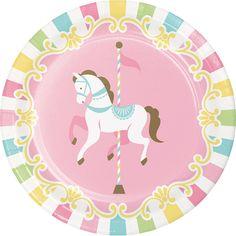 Carousel Horse Plates - Carousel Birthday Set Carousel Party Supplies, Carousel Plates, Horse Baby Shower, Pastel Rainbow Merry Go Round Carousel Birthday Parties, Carousel Party, Birthday Balloons, Metallic Balloons, Mylar Balloons, Globos Mylar, Horse Baby Showers, Thema Deco, Party Plates