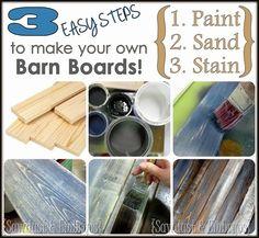 DIY Distressed 'Barn Board' Tutorial {by Sawdust and Embryos}