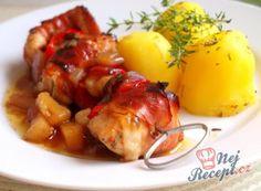 Nejlepší recepty na špízy | NejRecept.cz Steak, Pork, Turkey, Menu, Sweets, Dishes, Chicken, Pineapple, Syrup