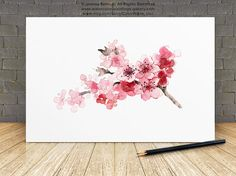 Cherry Blossom Painting Pink Tree Blooming Branch Watercolor