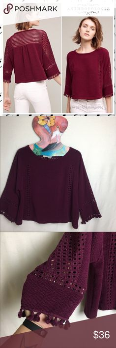 """Anthropologie Saturday Sunday Olanda Tassel Top Anthropologie Saturday Sunday Olanda Tasseled Pullover Top. Pull on style purple top has oversized width, 3/4 sleeves with knit and tasseled detail. Has a slight crop to it and looks great with high rise denim. Dark purple color. My photos are truest to color, stock photos look more red but give an accurate description on wear. Excellent used condition. No rips stains or holes. Bust 20"""" Length 19"""" 38-B248 Anthropologie Tops Tees - Long Sleeve"""