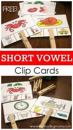 FREE Short Vowel Sounds Clip Cards