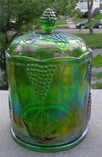 Large Green Carnival Glass Canister Indiana Harvest Grape Rainbow Iridescence