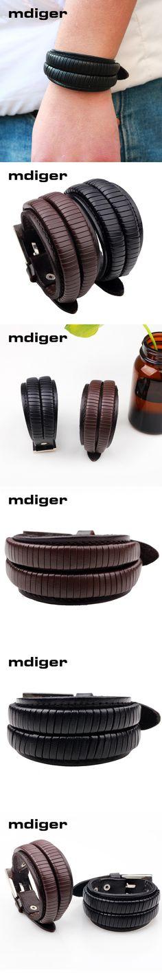 Mdiger Brand Fashion Black Weave PU Leather Bracelet for Men Bracelets Brown Bangles Bracelets Gift for Men Accessory