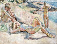 (sweat of the brow) Sørensen, Henrik: Bathing boys – 1913 – Oil on canvas Beach Art, Male Body, Brows, Oil On Canvas, Artist, Painting, Bathing, Pictures, Eyebrows