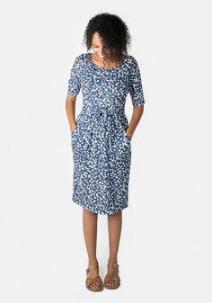 Elaine Blue Floral Print Dress Sleeve Designs, Belt Tying, Wrap Dress, Floral Prints, Dresses For Work, Sleeves, Model, How To Wear, Blue