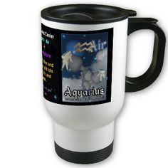 Aquarius Zodiac white travel Mug by valxart for $20.95 is one of 720  designs for the 60 years of the Chinese zodiac combined with each of 12 zodiac designs and forecast each used on several products . Valxart also has 12 zodiac cusp and 60 years of chinese zodiac. If you do not see desired year and zodiac sign contact info@valx.us for links to desired images.