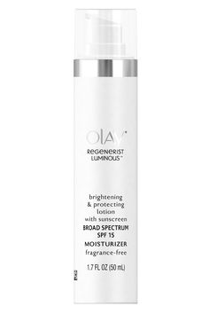 Wearing sunscreen daily keeps freckles, dark marks, and melasma from popping up. Some of us didn't get that memo until it was a little too late. Niacinamide, a form of vitamin B3 that curbs redness and irritation, helps fade past mistakes. Olay Regenerist Luminous Brightening & Protecting Lotion with Sunscreen SPF 15, $26, olay.com   - HarpersBAZAAR.com