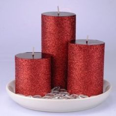RED GLITTER CANDLESCAPE