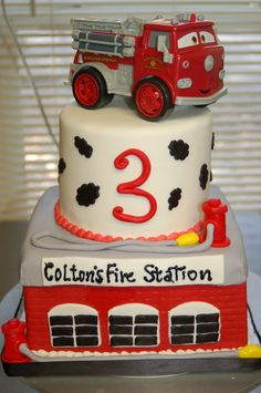 Firetruck/station birthday cake by Cake is the Best Part, Redding, CA