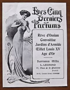 Vintage, ad, original, 1910, perfume, Reve d'Ossian, Convoitise, 5 perfumes, french, advertisement, paper, ephemera