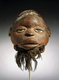 Unidentified Makonde artist. Lipiko Mask, 19th century. Wood, human hair, fiber, pigment, 13 x 10 1/4 x 11 1/4 in. (33 x 26 x 28.6 cm). Brooklyn Museum, Museum Expedition 1922, Robert B. Woodward Memorial Fund, 22.1588.