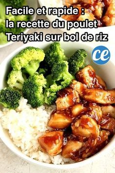 Quick Teriyaki Chicken Rice Bowls recipe - better than takeout and made with just a few ingredients, this Asian chicken dinner idea is on our weekly rotation! Sweet, garlicky chicken served with rice and steamed broccoli comes together in just 20 minutes. Teriyaki Chicken Rice Bowl, Chicken Rice Bowls, Teriyaki Rice, Chinese Chicken Teriyaki Recipe, Molho Teriyaki, Chipotle Chicken Bowl, Homemade Teriyaki Sauce, Homemade Salsa, Quick Meals