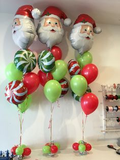 christmas themed floor bouquets santa foil with candy swirls green and red latex balloon decorations partychristmas