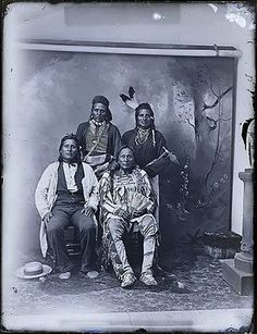 Hidatsa:Small Ankle and sons Charging Enemy, Red Kettle and Wolf Chief. Wolf Chief is sitting left: