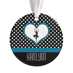 Dancer in Blue Heart - Black and White Polka-Dots Ornament