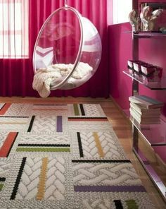 Cute for a teen bedroom. The hanging bubble chair is decor Room design Girl Room, Dream Bedroom, Room Inspiration, Room Design, Cute Bedroom Ideas, Room Makeover, Awesome Bedrooms, Bubble Chair, Bedroom Layouts