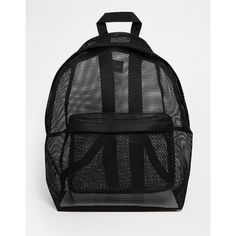 ASOS Mesh Backpack ($24) ❤ liked on Polyvore featuring bags, backpacks, asos bags, top handle bag, knapsack bag, asos backpack and mesh see through backpacks