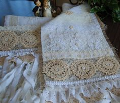 Burlap Table Runner Shabby Chic Country Cottage Ruffles and Lace Wedding # by LaPetitePrairie