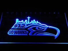 b1031 Seattle Seahawks Go Hawks 12 Man Bar LED Neon Sign with On/Off Switch 7 Colors to choose