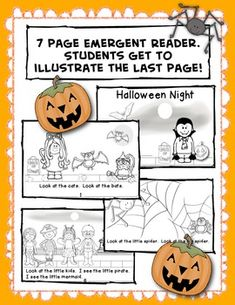HALLOWEEN NIGHT/ Emergent Reader  7 page emergent reader book in blackline only.  Students get to illustrate the last page!!  This is a fun book about Halloween, perfect for guided reading groups. Great for sight words, look, big and little. $