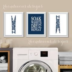 Laundry Room Art Print - Laundry Room Sign - Laundry Room Decorations - Laundry Room Decor - Laundry Room Prints - Wash Dry Fold - NS-776  You will receive all three prints in the size you select. Each one will measure the size selected. Please select either photo paper (Frames not Included) or Canvas. The colors used are navy blue and white. If you would like to change the colors to match your rooms decor, just add your request in the notes section at checkout. PLEASE READ!!!!!!!!!  ★ ★ ★ ★…