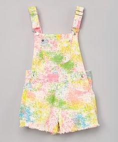 Another great find on #zulily! Pink & Yellow Abstract Overalls - Girls #zulilyfinds