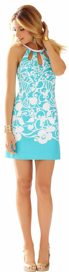 Lilly Pulitzer White And Teal Baroque Print Halter Shift Dress #Fashionistas