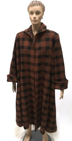 50s Swansdown Swing Coat Brown Black Plaid Anglo Wool Fabric Vintage Outerwear 1950 50s by ReoccuringDreams on Etsy