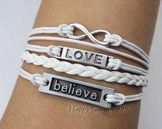 Infinity Believe & Love BraceletAntique silver by happygarden999, $6.59