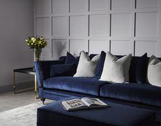 Blue velvet sofa with grey panelled wall Blue Velvet Sofa Living Room, Cozy Grey Living Room, Blue Living Room Sets, Navy Living Rooms, Living Room Color Schemes, New Living Room, Living Room Panelling, Snug Room, Navy Sofa
