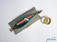 schnell genähtes Stiftemäppchen aus Leinen mit Details aus SnapPap