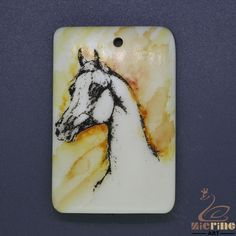 Cool Scrimshaw Pendant  Carved Hand Painted horse Rubber Stamp ZL201344 #ZL #Pendant