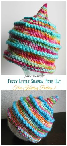 Fuzzy Little Shapka Pixie Hat Knitting Free Pattern - Kids Free Patterns hat pattern free kids Kids Pixie Hat Free Knitting Patterns Baby Knitting Patterns, Baby Hats Knitting, Knitting For Kids, Knitting For Beginners, Free Knitting, Knitted Hats, Knitting Ideas, Knitted Hat Patterns, Slouch Hats