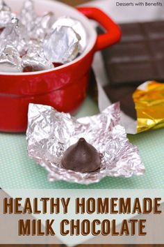 Healthy Homemade Milk Chocolate (dairy free and sugar free) - has chocolate in the recipe